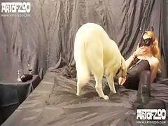 Pelirroja con lencería sexy para su can
